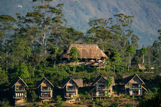 High angle view of a  hillside luxury villa and resort complex in a tropical location, Ella, Sri Lan