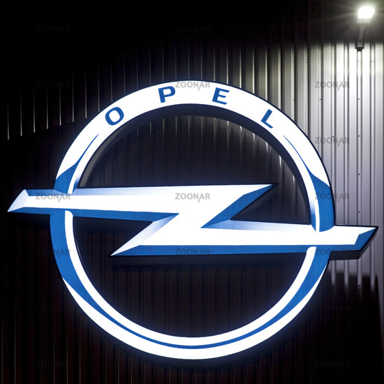 Opel logo at the goods distribution center of the Opel Group, Bochum, Germany, Europe