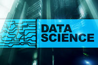 Data Science Artificial Intelligence Concept. Futuristic Supercomputer background.