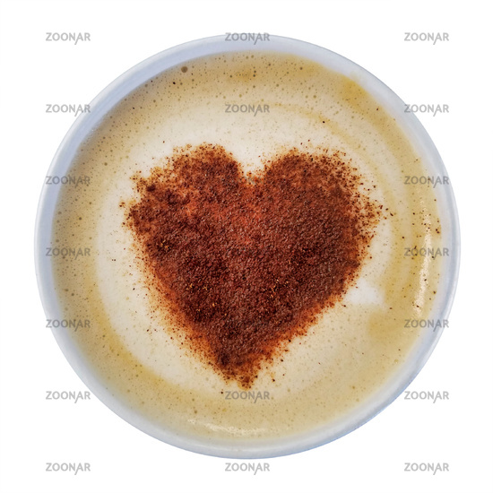 Cappuccino Heart Isolated Over White