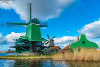 Green windmill at Zaanse Schans Dutch Village