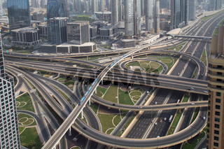Sheikh Zayed Junction in Dubai, UAE