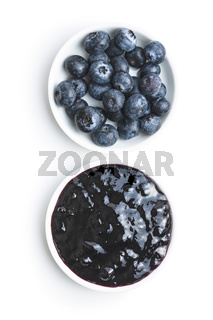 Sweet blueberry jam and blueberries.