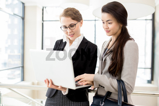 Pretty Managers Using Laptop