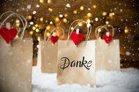 Christmas Shopping Bag, Snow, Snowflakes, Danke Means Thank You