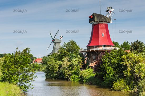 The historic Twin Mills in Greetsiel, Eastern Frisia, Germany