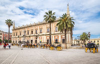 Touristic horse carriage in the streets of Seville, Spain