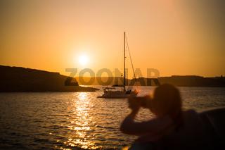 Malta Sailing Ocean Sunset Landscape Orange Sky Water