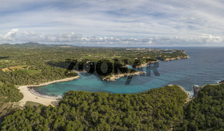 Aerial view of award winning S'Aramador Beach in the South-East of Mallorca island