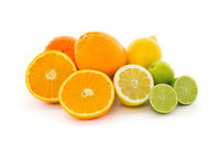 Ripe citrus fruits isolated on white background. Health
