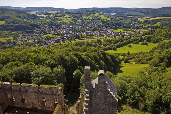 view from castle Kasselburg, Pelm, Vulkaneifel, Rhineland-Palatinate, Germany, Europe