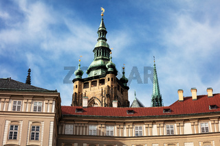 St. Vitus Cathedral spire and blue sky