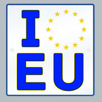 I love Europe license plate with stars.