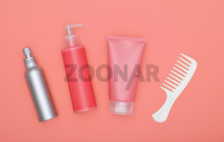 Feminine beauty hair care set on pink