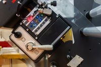 Industrial Label Printing Equipment Closeup Detail Displays Levers Box
