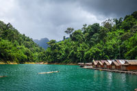 Floating village in Cheow Lan Lake, Khao Sok, Thailand