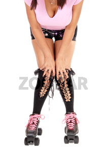 Close up of a with roller-skating woman
