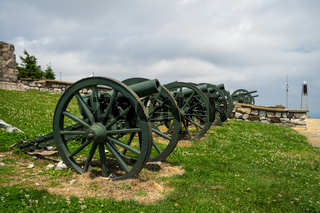 Old cannons on the place of Battle of Shipka Pass during Russian–Turkish Liberation war (1877–1878). Bulgaria. Focus in the foreground.