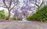 Woman sitting under a canopy of purple flowers of the Jacaranda