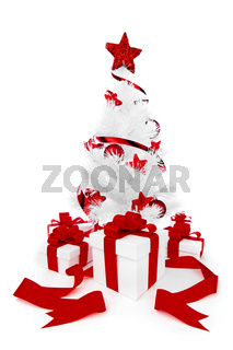 Christmas tree with red decor