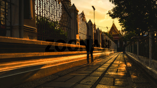 Man Walking Alone Afternoon Sunset Thailand Temple Asian Lifestyle City