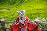 Woman in folk costume Longji Rice Terraces