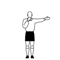 Rugby Referee penalty Direct Free Kick Signal Drawing Retro