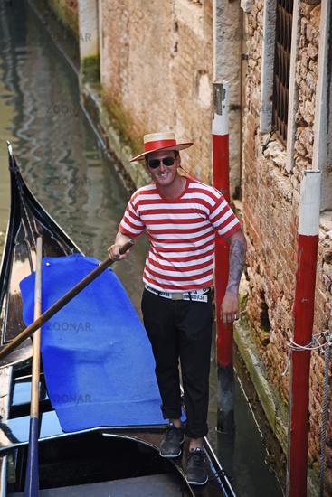 gondolier, gondola, canal, Venice, Italy, Europe