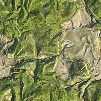 Aerial view from air plane of green nature mountains seamless texture background. 3d illustration