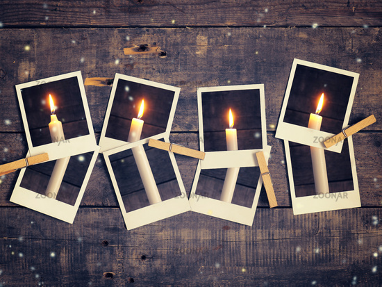 First candle burning, Advent background