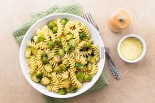Pasta Carbonara with Roasted Brussels Sprouts