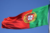 Portuguese flag fluttering in the wind
