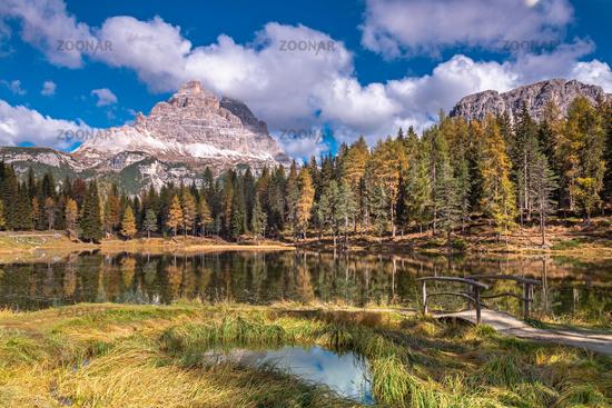 Autumn at Lake Antorno under Three Peaks, Dolomites, South Tyrol