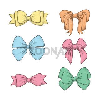 set of vintage hand drawn ribbon bows. Vector illustration
