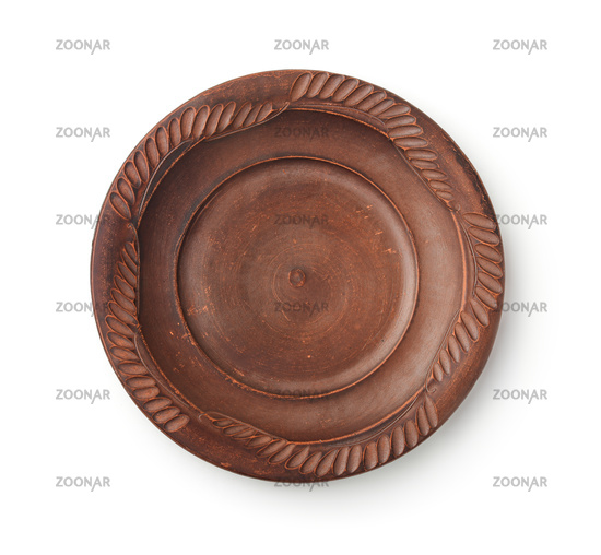 Top view of empty old ceramic plate