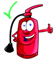 Cartoon mascot  of fire extinguisher . illustration