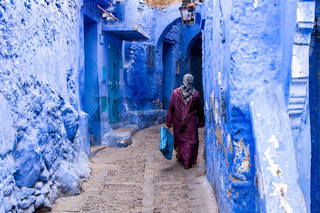 Medina of Chefchaouen, Morocco noted for its buildings in shades of blue
