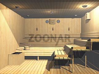 moderne Sauna mit Holzbänken