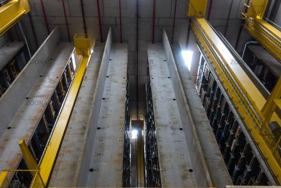 Huge Automated Storage Warehouse Concrete Racks Empty Nobody Industrial Equipment Logistics Interior