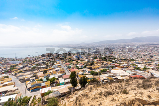 Chile Coquimbo panoramic aerial view of the bay of Serena