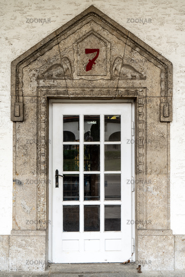 Portal to the bathhouse 7 in the Art Nouveau spa complex Sprudelhof, Bad Nauheim