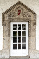 Portal to the bathhouse 7 in the Art Nouveau spa complex Sprudelhof, Bad Nauheim