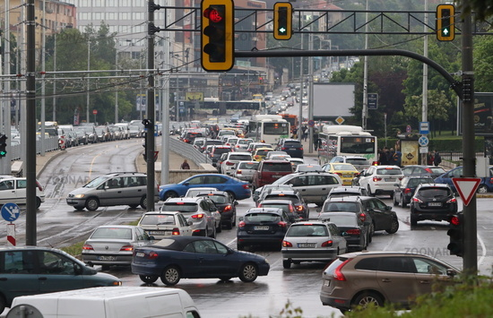 Traffic jam in the rush hour Bulgaria Sofia. Busy traffic on boulevards