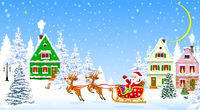 Santa on deers on the background of houses and forest