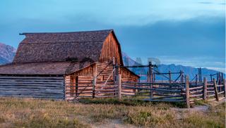 Grand Teton scenic view with abandoned barn on Mormon Row