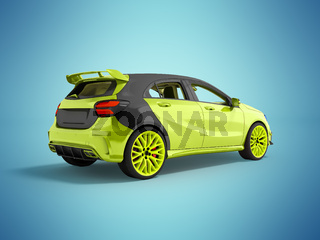 The modern sports car is light green gray 3d rendering not blue background with shadow