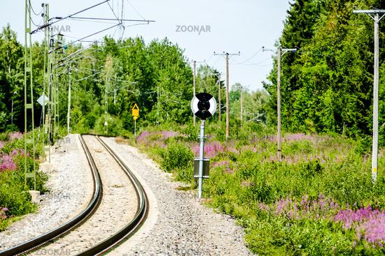 railway in park, in Sweden Scandinavia North Europe