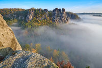 Elbe Sandstone Mountains at the Bastei in autumn