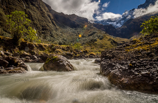 River in the Andes at El Altar Volcano near Banos, Ecuador