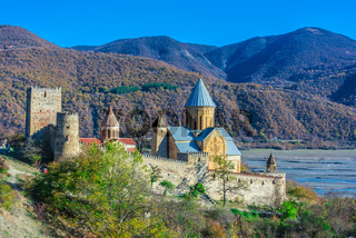 Ananuri castle and Church of the Mother of God on Aragvi River in Georgia
